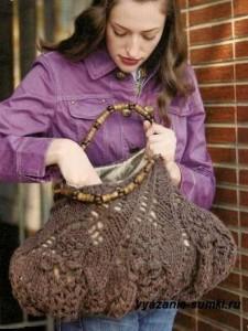 большая ажурная вязаная сумка спицами