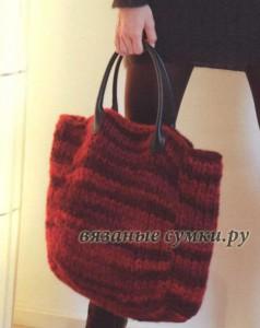 Большая зимняя вязаная сумка спицами из меланжевой пряжи