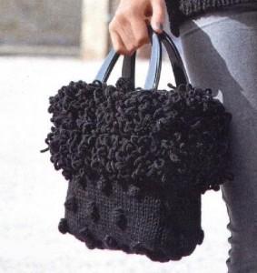 фото черная вязаная сумка спицами с шишечками и с отделкой под мех