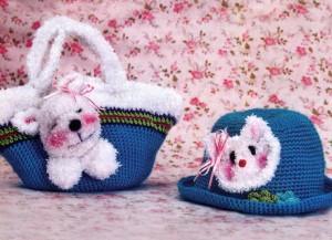 детская вязаная сумочка с собачкой и вязаная шляпка с котиком крючком