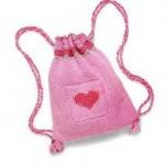 Детский вязанный рюкзачок для девочки спицами.