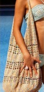Фото, вязаная сумка для пляжа крючок