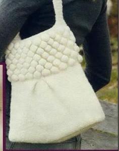 фото вязаная сумка спицами белая