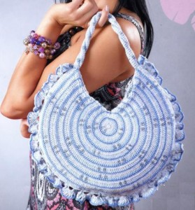 Вязаные сумки круглые фото