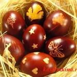 яйца с рисунком в луковой шелухе