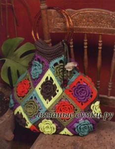 красивая вязаная сумка крючком из мотивов фото