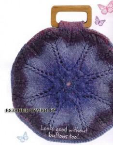 круглая вязанная сумочка спицами