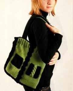 Квадратная вязаная сумка спицами