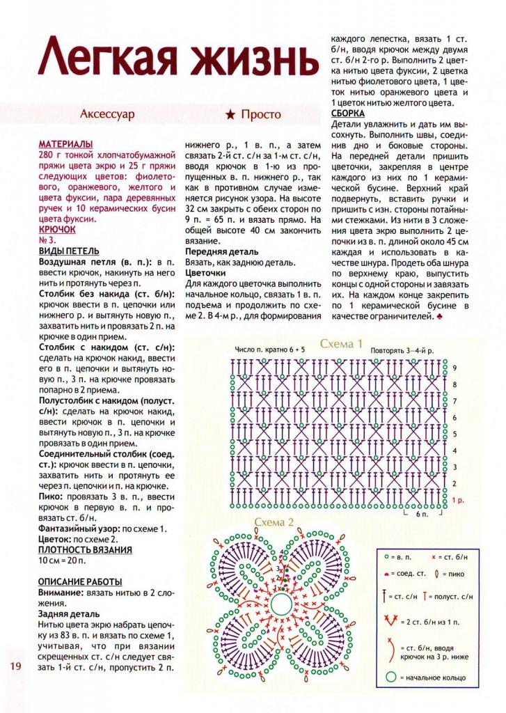 описание вязания и схемы белой вязаной сумки крючком на лето