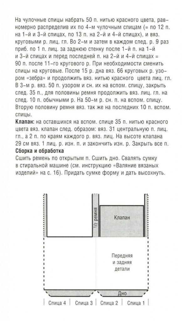 описание вязания сумки спицами с узором зебра