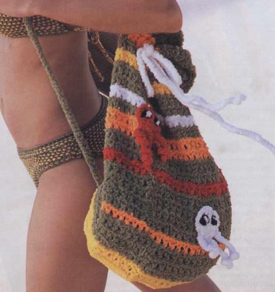 Пляжная вязаная сумка с осьминожками