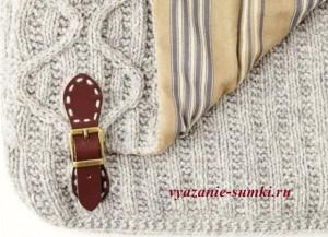 подкладка и застежка вязаной сумки