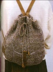 простой вязаный рюкзак спицами