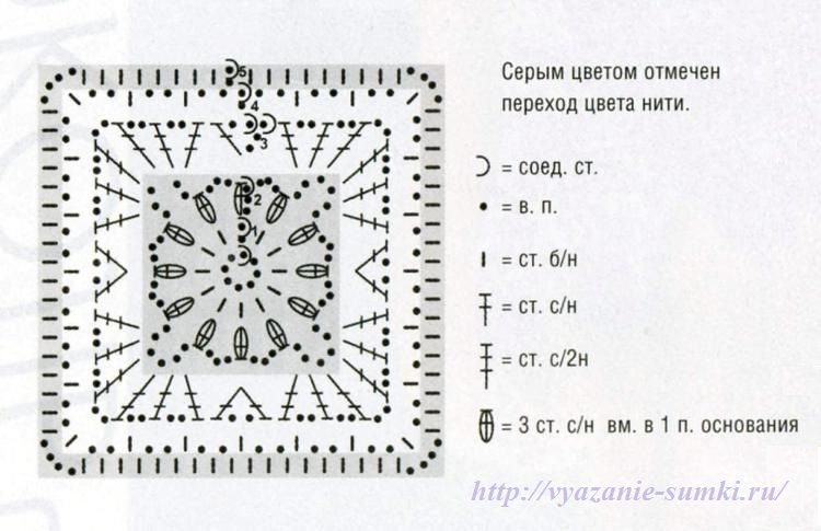 схема вязания цветочного мотива