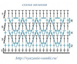 схема вязания клатча с зигзагами
