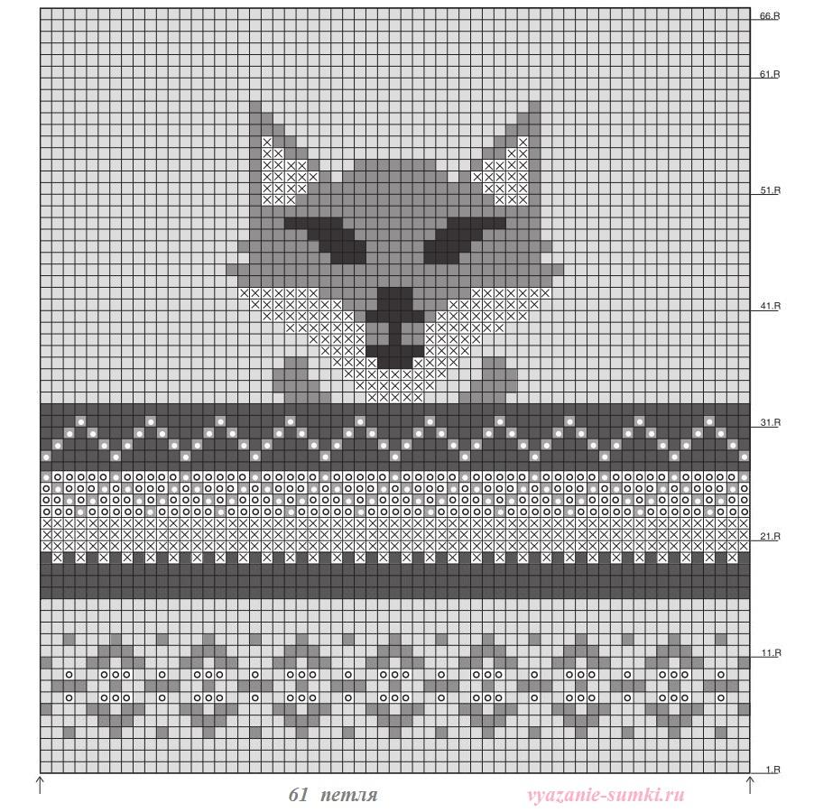 схема вязания лисы