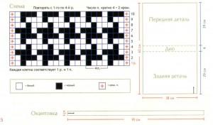 схема вязания узора гусиная лапка