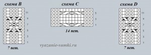 схемы вязания С, D и B