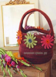 Войлочная сумка с цветами фото