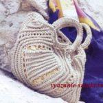 вязаная летняя сумка крючком с красивым ажурным узором