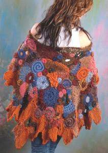 вязание фриформ накидка