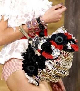 Вязаная сумка Шанель с цветами