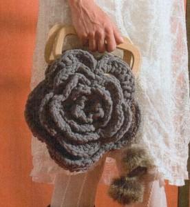 Вязаная сумка цветок