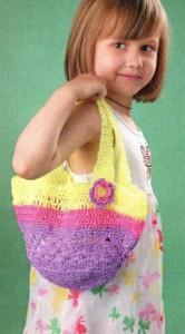 Вязаная сумка корзинка для девочки крючком