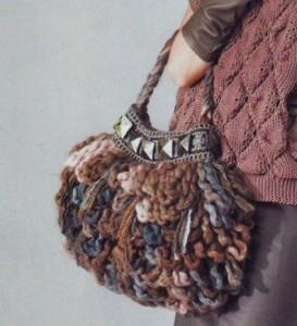 Вязанная сумка крючком из длинных петель