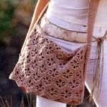 Фото вязаная сумка крючком на длинной лямке