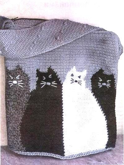 вязаная сумка мешко крючком с котами