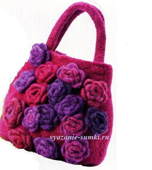 вязаная сумка с розами крючком