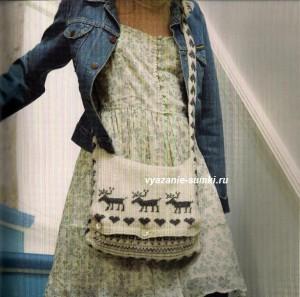 вязаная сумка спицами с норвежским узором из оленей