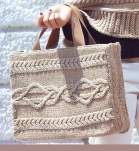 Фото - вязаная сумка спицами с аранским узором