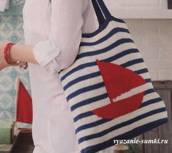 вязаная сумка в морском стиле спицами