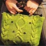 вязаная сумка зеленая спицы