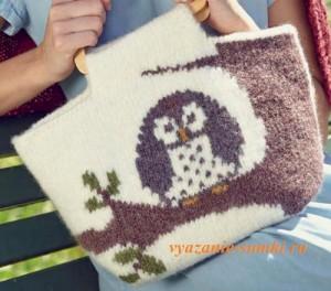 вязаная сумочка спицами с совой в технике валяния