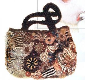 вязаная сумочка фриформ крючком и спицами