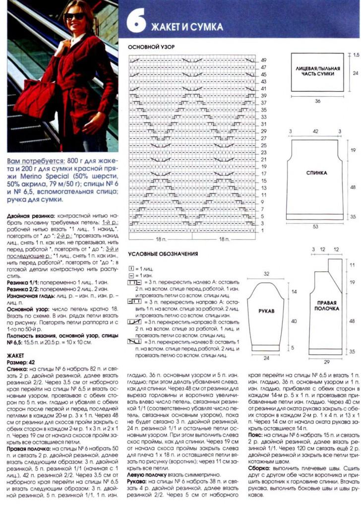 вязание кардигана с поясом и сумки спицами, описание и схемы
