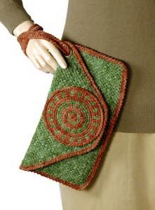 вязание клатча из лентовидной пряжи (спицы)