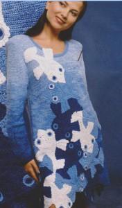 вязание в технике фриформ платье