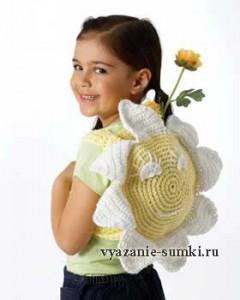 """вязаный рюкзачок крючком для девочки """"Солнышко"""""""