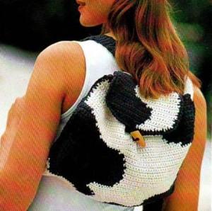 Вязаный рюкзак черно-белый крючок