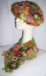 вязаный берет и шарф фриформ от ренаты киркпатрик